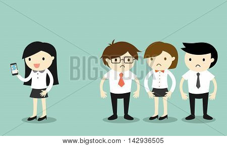 Business concept, Business woman is using smartphone but her coworkers feel awkward. Vector illustration.