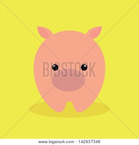 Cute cartoon pig on a yellow background