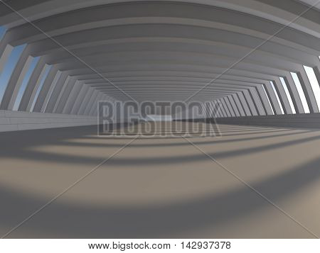 Abstract modern architecture background, empty white open space interior with windows, 3D rendering