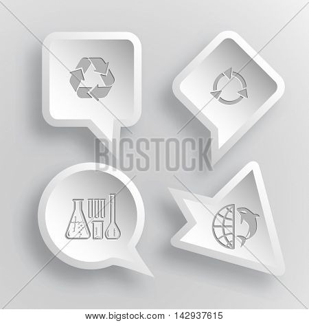 4 images: recycle symbol, chemical test tubes, globe and shampoo. Ecology set. Paper stickers. Vector illustration icons.