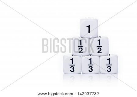 White fraction dices whole half third stacked up on white background with light reflection and copy space for text