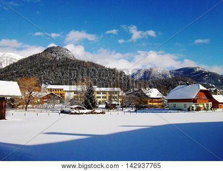 Alpine village in a sunny day in winter, Bad Mitterndorf, Austria