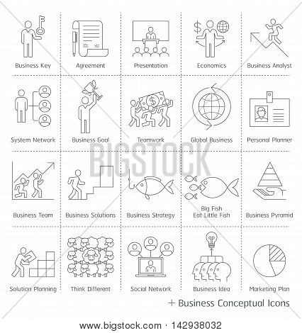 Business management conceptual icons. Vector thin line style.