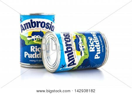 SWINDON UK - AUGUST 2 2016: Two tins of Ambrosia rice pudding on a white background