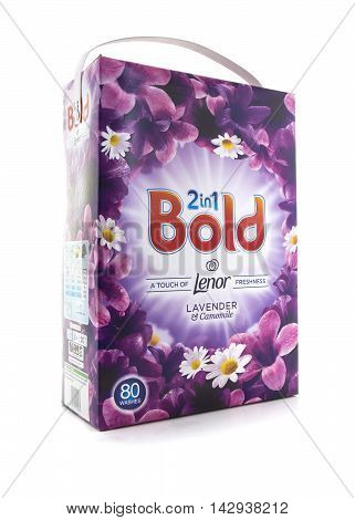 SWINDON UK - AUGUST 07 2016: Packet of Bold 2 In 1 Lavender & Camomile Detergent and Fabric Softener Bold is Manufactured by Procter & Gamble