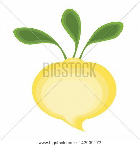 Abstract cartoon yellow turnips with green tops.