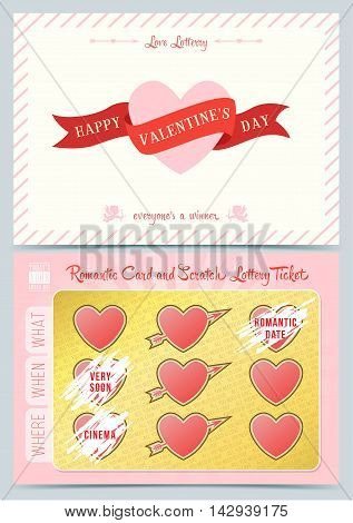 Valentine day Lottery scratch card. Game card for Valentine day.