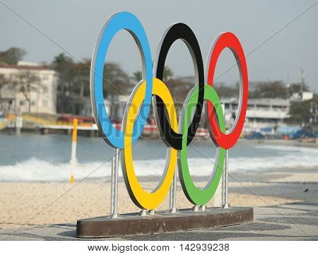 RIO DE JANEIRO, BRAZIL - AUGUST 6, 2016: Olympic Rings at Copacabana Beach in Rio de Janeiro