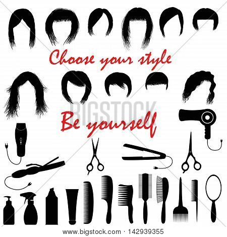 Set with women's hairstyles and hairdressing facilities. Vector illustration. Isolated.