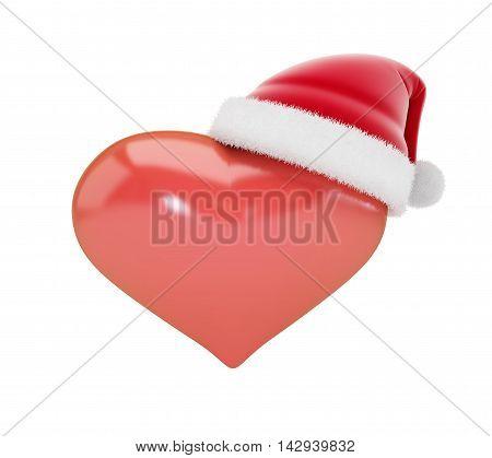 Heart sign in Santa hats 3d Illustrations