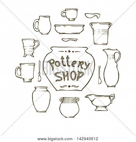 Ceramic ware, cups, jars, spoons, plates. Pottery shop - the inscription on the pot. Vector illustration, isolated.
