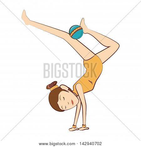 gymnast girl women female sport rhythmic exercise vector illustration isolated