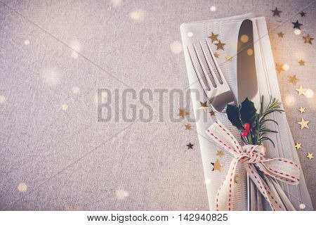Christmas Table Place Setting, Copy Space Fairy Light Toning Background