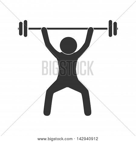 man dumbbell equipment exercise gym heavy muscle weight weightlifting vector illustration isolated