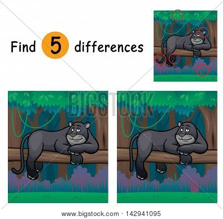 Vector Illustration of Game for children find differences - Panther