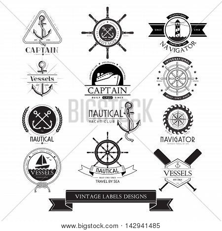 Nautical vessels vintage labels icons and design elements.