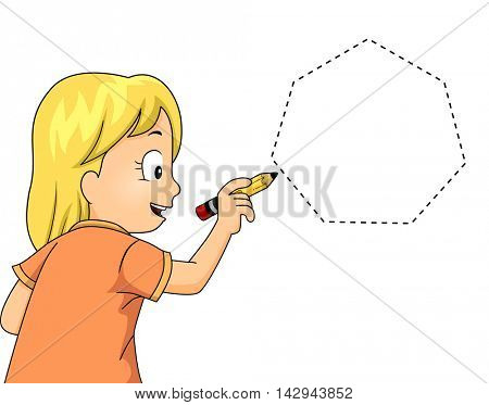 Illustration of a Little Girl Drawing a Heptagon