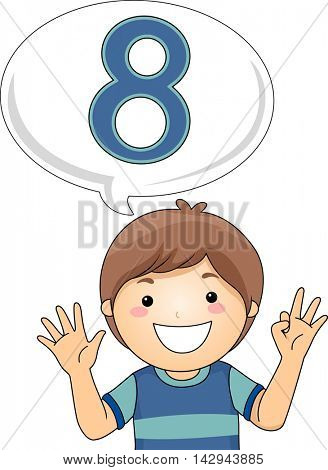 Illustration of a Little Boy Gesturing the Number Eight
