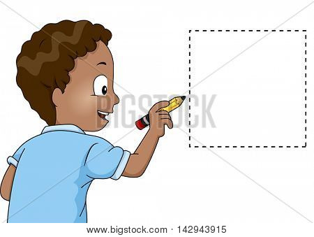 Illustration of a Little Boy Drawing a Square