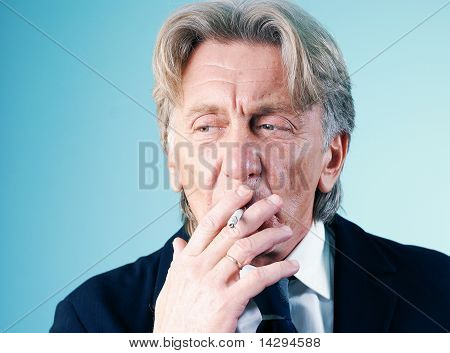 Smoker's puff closeup portrait