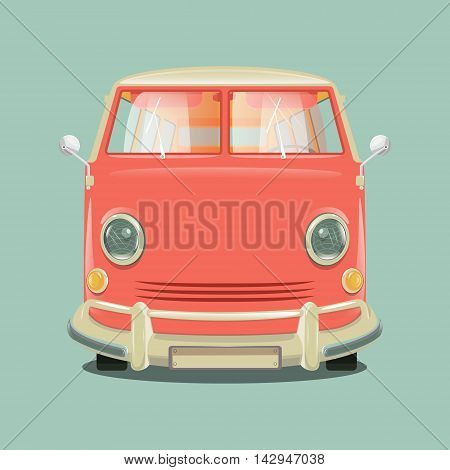 Pink color minibus . Cartoon colorful vector illustration