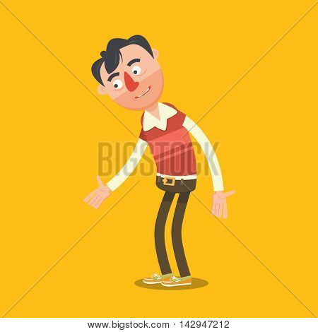 Confused apologizing man. Cartoon colorful vector illustration