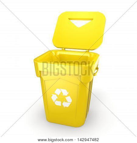 3D Rendering Yellow Recycling Bin