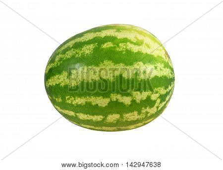 Ripe light green striped watermelon. Isolated on white background