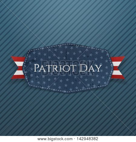 Patriot Day Text on Emblem with Ribbon. Vector Illustration