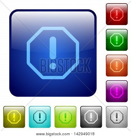 Set of error sign color glass rounded square buttons