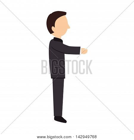 adult man male profile person hand suit elegant vector illustration isolated