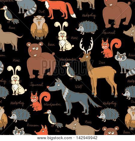 Vector seamless pattern with hand drawn colored forest animals on black color. Pattern on the theme of wildlife nature. Background for use in design packing web site fabric