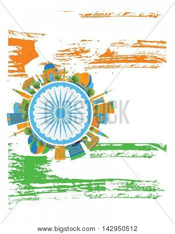 Happy Indian Republic Day Banner. Concept with indian Landmarks and copy space. Buildings on indian flag.