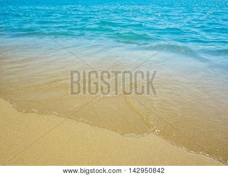 golden sand with beach and tropical sea
