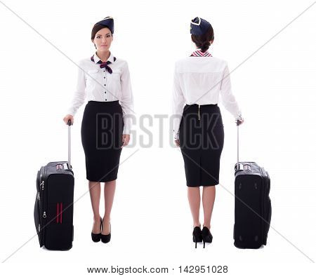 Front And Back View Of Stewardess With Suitcase Isolated On White