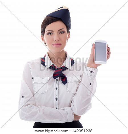 Booking Concept - Young Stewardess Holding Smart Phone With Blank Screen Isolated On White
