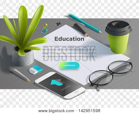 Mockup scenes on education theme. School objects on the wooden table for your graphic design. Bright colors in funny set. Horizontal banner with text and button