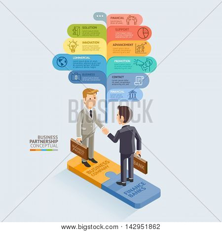 Business Partnership Isometric Conceptual. Businessman Handshake On Jigsaw Puzzle. Vector Illustration. Can Be Used For Workflow Layout Diagram Number Options Web Design Infographics And Timeline.