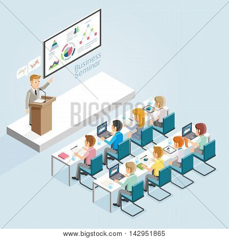 Business Seminar Isometric Flat Style. Vector Illustrations.