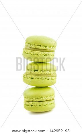 Stacked Green Cake Macaron Isolated On White Background, Maccarone Sweet Dessert