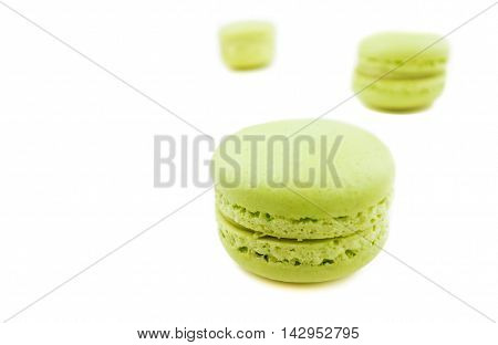 Green Cake Macaron On White Background, Maccarone Sweet Dessert