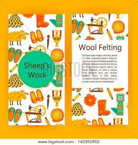 Handmade wool products brochure template. Vector illustration of handicraft felt flyer.
