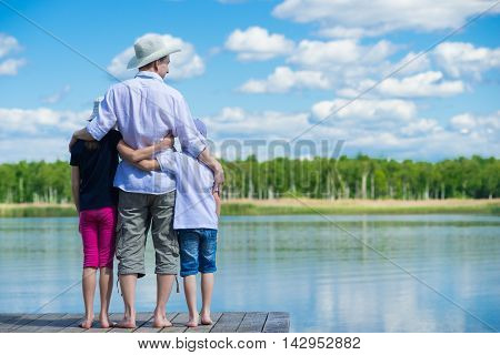 The father brought the children on nature