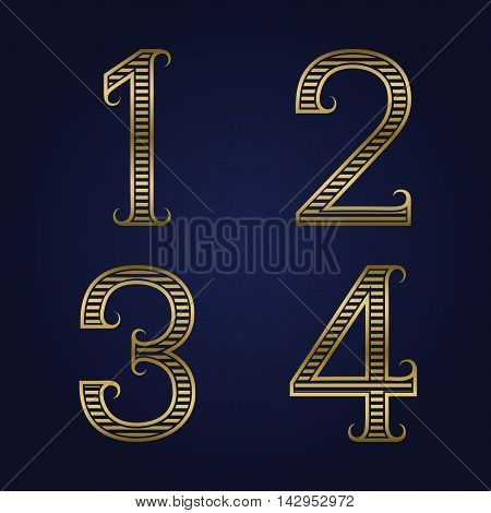 One two three four golden ribbed numbers with flourishes. Horizontal stripes vintage font.