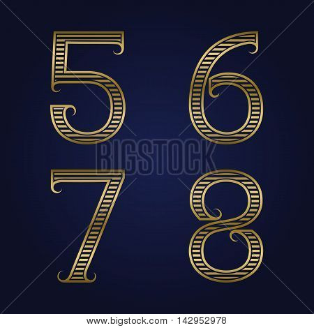 Five six seven eight golden ribbed numbers with flourishes. Horizontal stripes vintage font.
