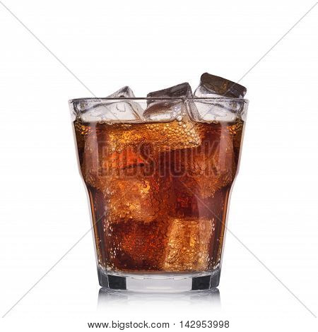 Carbonated cocktail with lime isolated on white background.