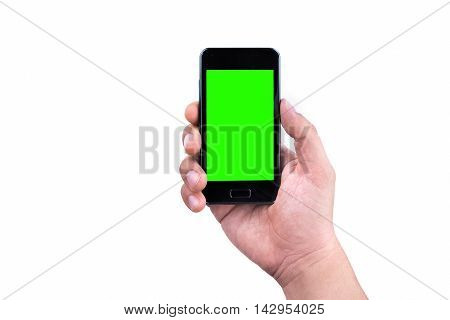 Hand Of Man Holding Mobile Smart Phone With Chroma Key Green Screen On White Background