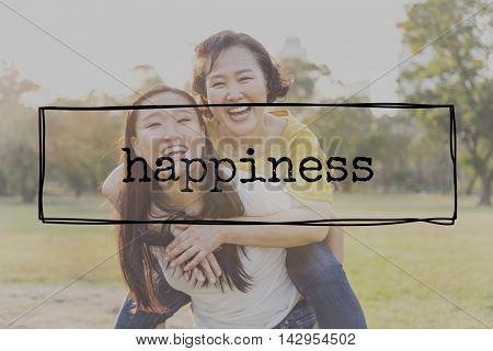 Happy LIfe Happiness Optimistic Enjoyment Cheerful Concept