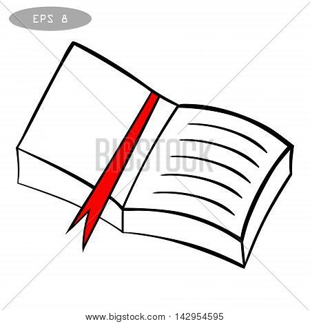hand drawn sketch book with red bookmark, isolated on a white background vector illustration