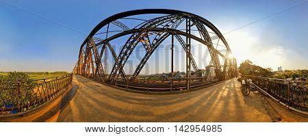 Panorama of Long Bien bridge in the afternoon